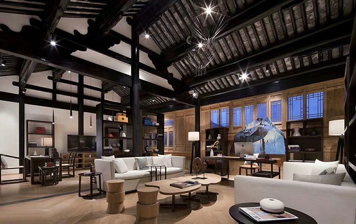 中式酒店大堂家具沙发等