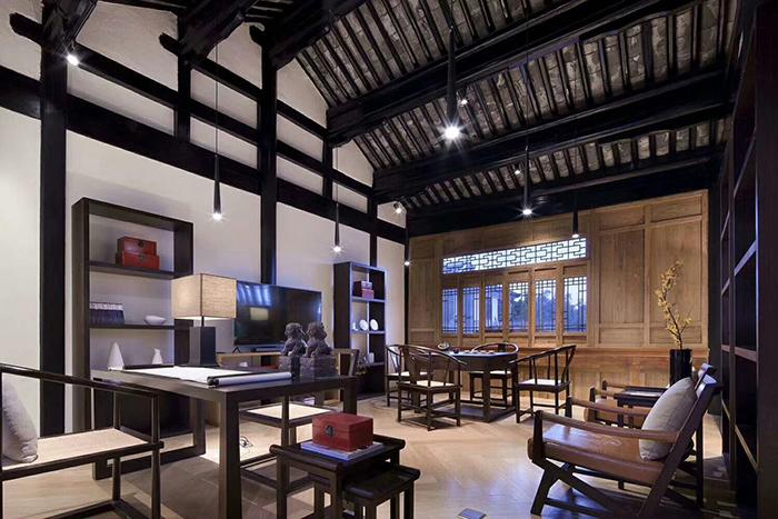 中式酒店书房家具,侧面图